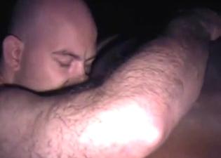 Bald farmer gives rimjob for a horse
