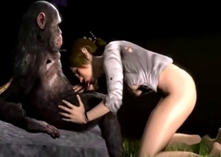 Awesome 3D hottie is sucking a huge monkey dick